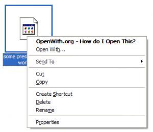 OpenWith meny - Klicka för att förstora